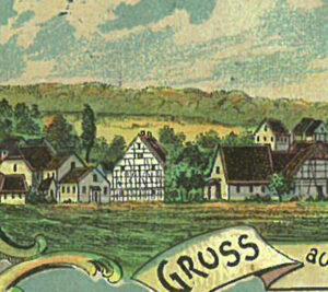 """Die """"Gruß aus Gleusdorf""""-Postkarte aus den Jahren um 1900 zeigt die Synagoge als kleines Steingebäude mit ihrem Toraerker. Sammlung Kappner, Haßfurt."""
