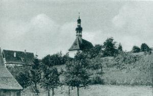 Die Filialkirche Mariä Geburt in Gleusdorf. Postkarte 1954.